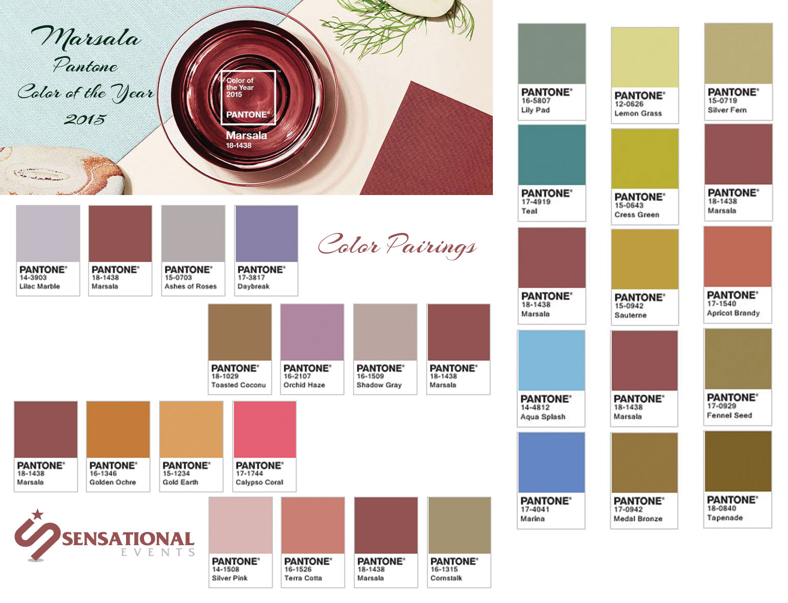 marsala 2015 color of the year pairings sensational events. Black Bedroom Furniture Sets. Home Design Ideas